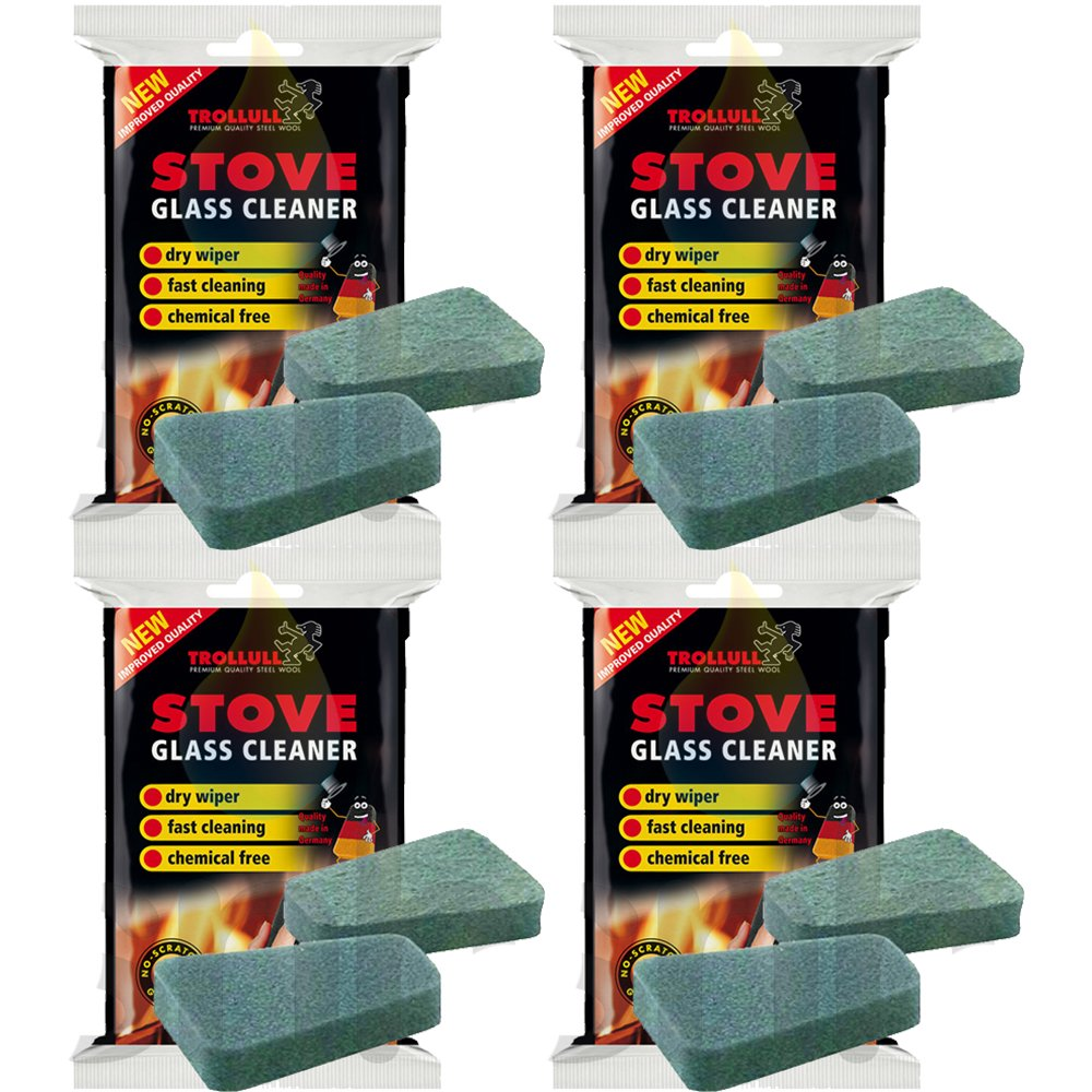 X4 Trollull Cleaner Pads For Stove Glass 2 In A Pack Rakso Stove Glass Cleaner 8 Pads in Total