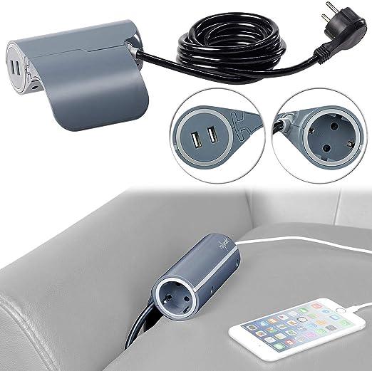 2 USB Thomson Multiprise pour canapé 1 prise 2P+T 16A Blanc