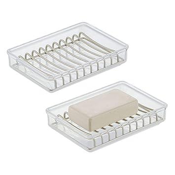mDesign Juego de 2 organizadores de baño – Portaesponjas con rejilla para  un secado rápido – 6250f2aee81a