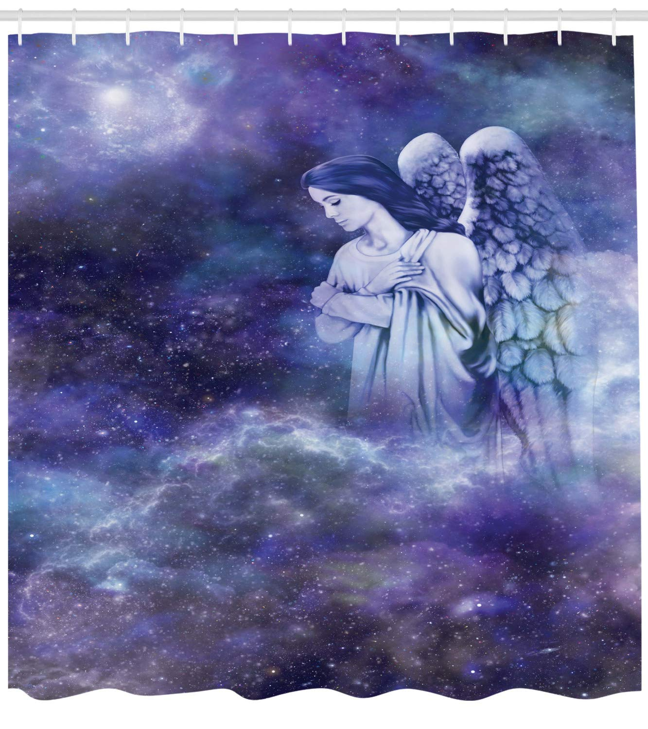 Lunarable Angel Shower Curtain, Guardian Winged Woman Watching Above on Galaxy Background, Fabric Bathroom Decor Set with Hooks, 105 Inches Extra Wide, Dark Lavender Blue Grey Pastel Purple