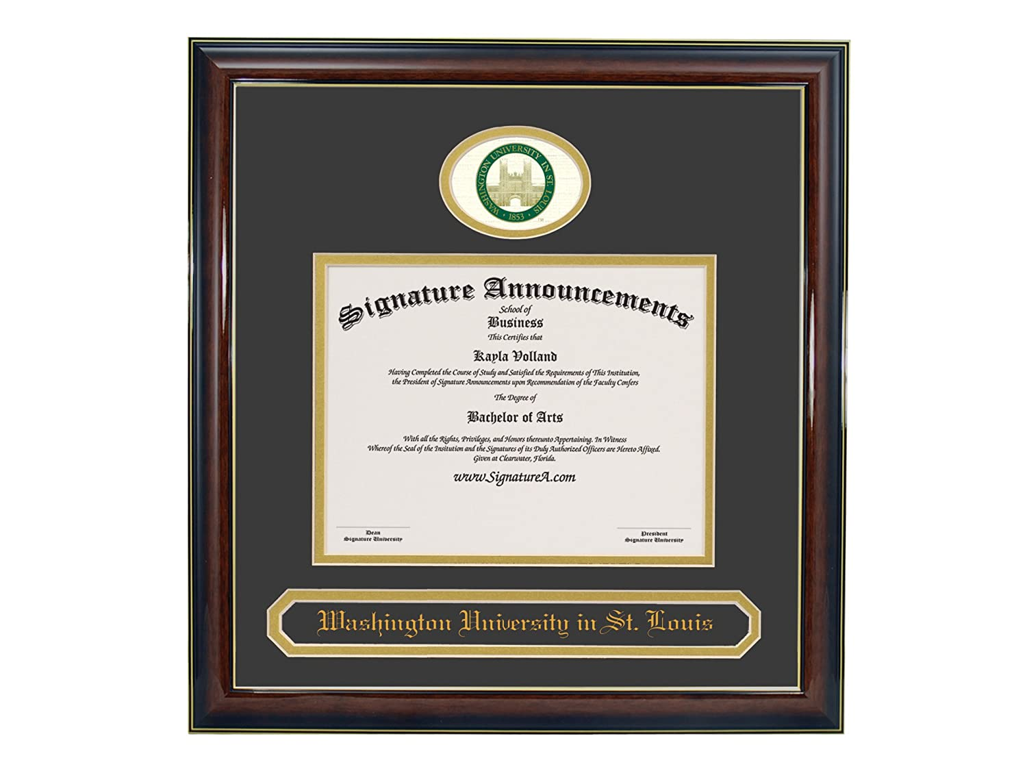 Signature Announcements Washington-University-in-St-Louis Undergraduate Professional//Doctor Sculpted Foil Seal /& Name Graduation Diploma Frame 16 x 16 Gloss Mahogany with Gold Accent
