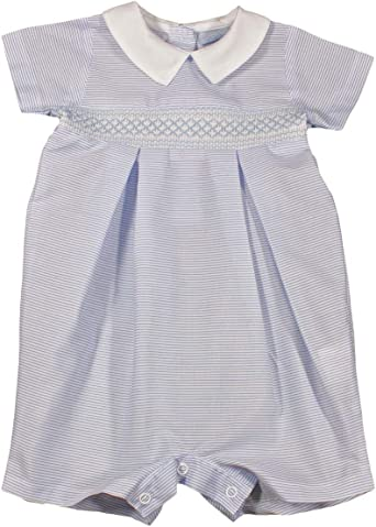 Baby Boys Spanish Style Romper Suit Smocked Blue White Outfit