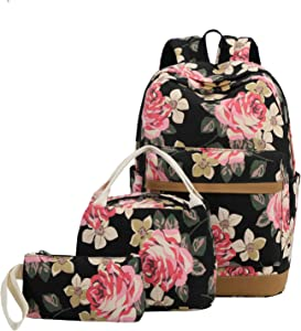 School Backpack Girls Teens Bookbags Set 15 inches Laptop Bag Kids Lunch Tote Bag Clutch Purse (Big Floral - Black)