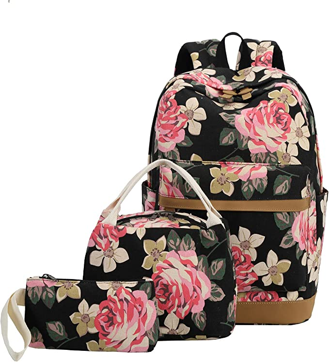 3 in 1 Canvas Student BookBag Set for School School Backpack with Lunch Box Pencil Case Floral