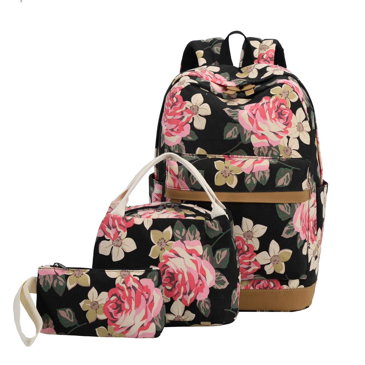 School Backpack Girls Teens Bookbags Set 15 inches Laptop Bag Kids Lunch Tote Bag Clutch Purse (Big Floral - Black) by BLUBOON