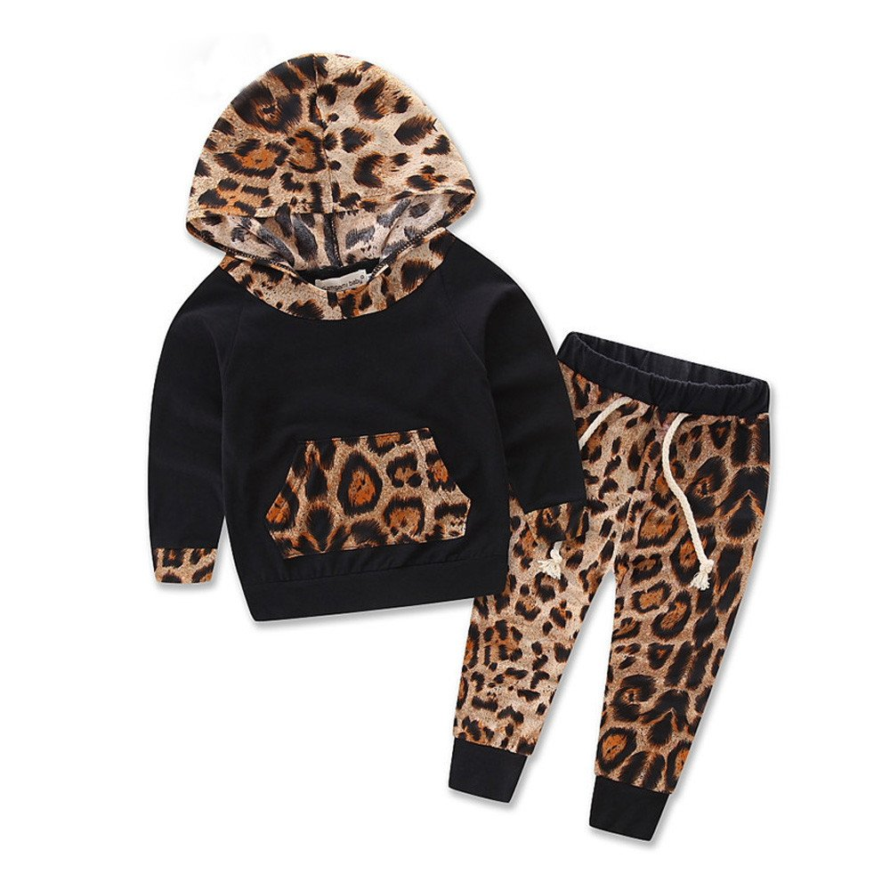 Fami Lovely Baby Set manches longues Leopard Print Tracksuit Top + Ensembles pantalon Set Fami-67