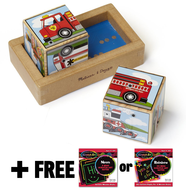 Vehicle Themed 2-Piece Sound Blocks + FREE Melissa & Doug Scratch Art Mini-Pad Bundle [12720]