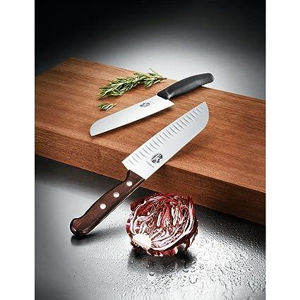 Victorinox Swiss Army Cutlery Rosewood Santoku Knife, Granton Blade, 7-Inch
