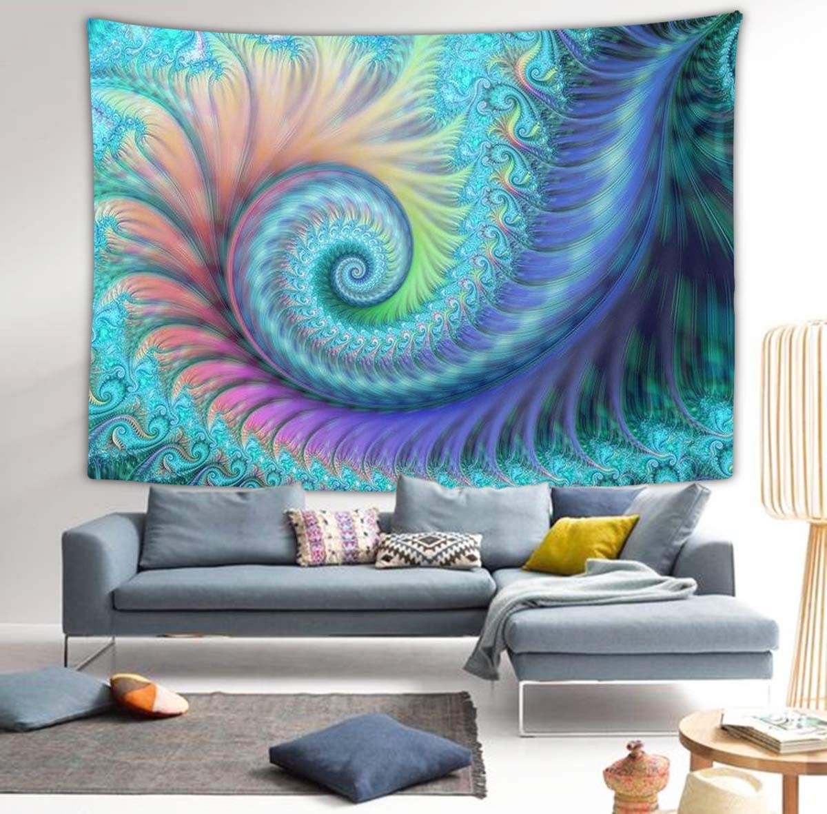 NiYoung Fractal Turquoise Octopus Wall Tapestry Hippie Art Tapestry Wall Hanging Home Decor Extra Large tablecloths 60×90 inches for Bedroom Living Room Dorm Room