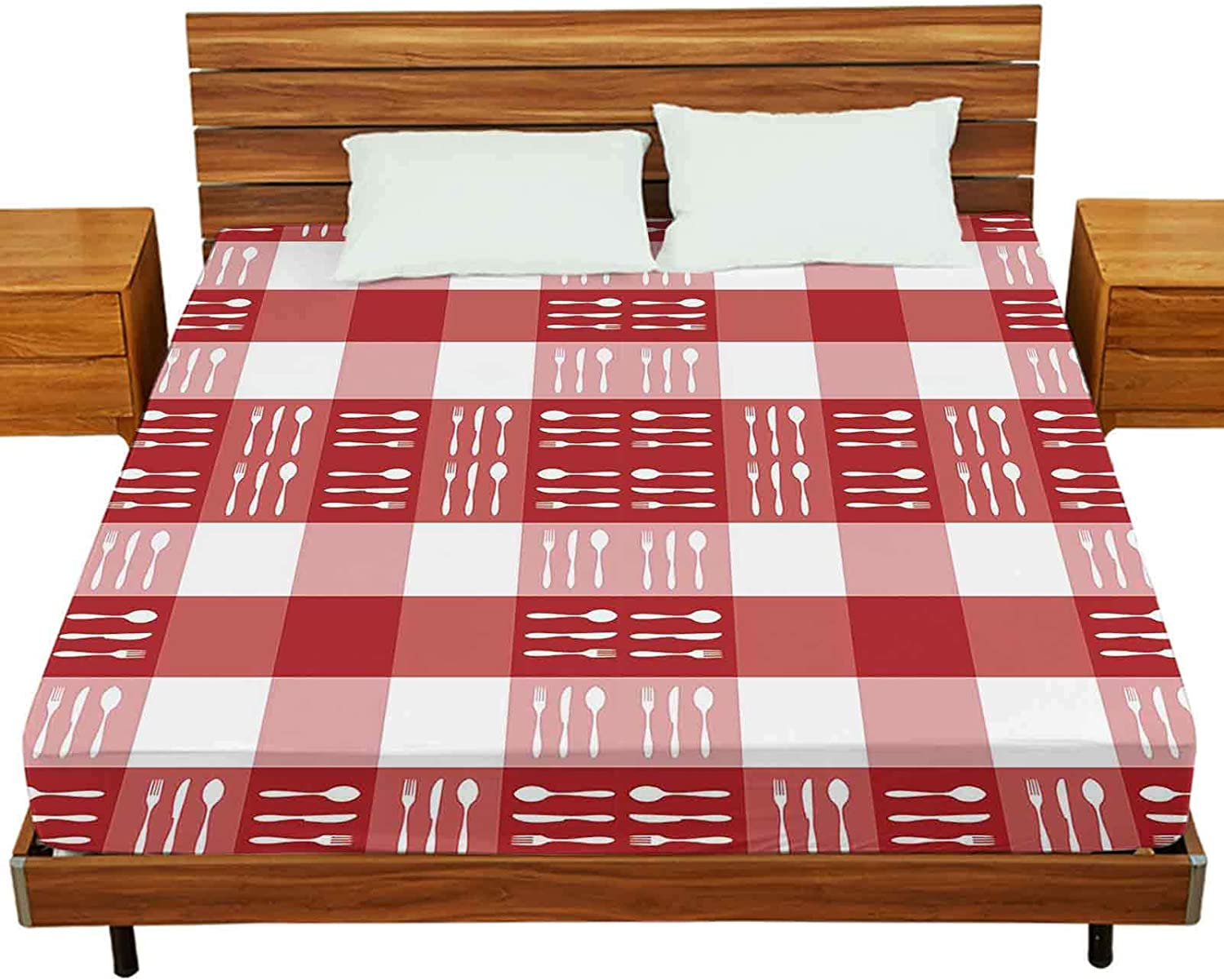 Bed Sheet Set Full Size, Food, Restaurant, menu Design with Cutlery Silhouettes Pattern on red Tablecloth Texture., 1 Single Fitted Sheet Only