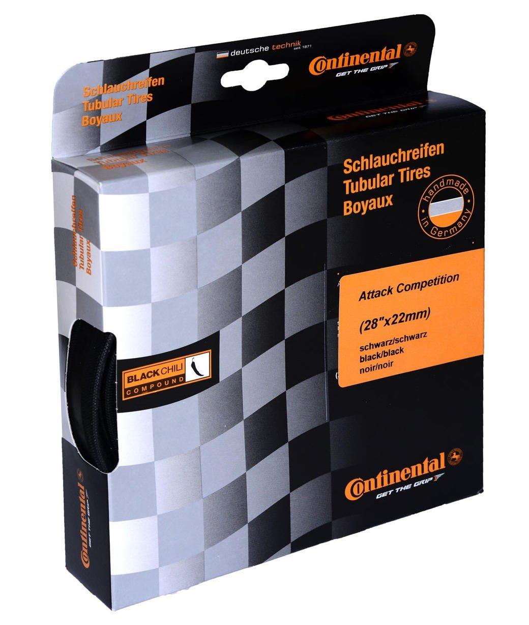 Continental Attack Compフロントチューブラーロード自転車タイヤ B009WPYCFSBlack/Black Skin ブラック/28×22C