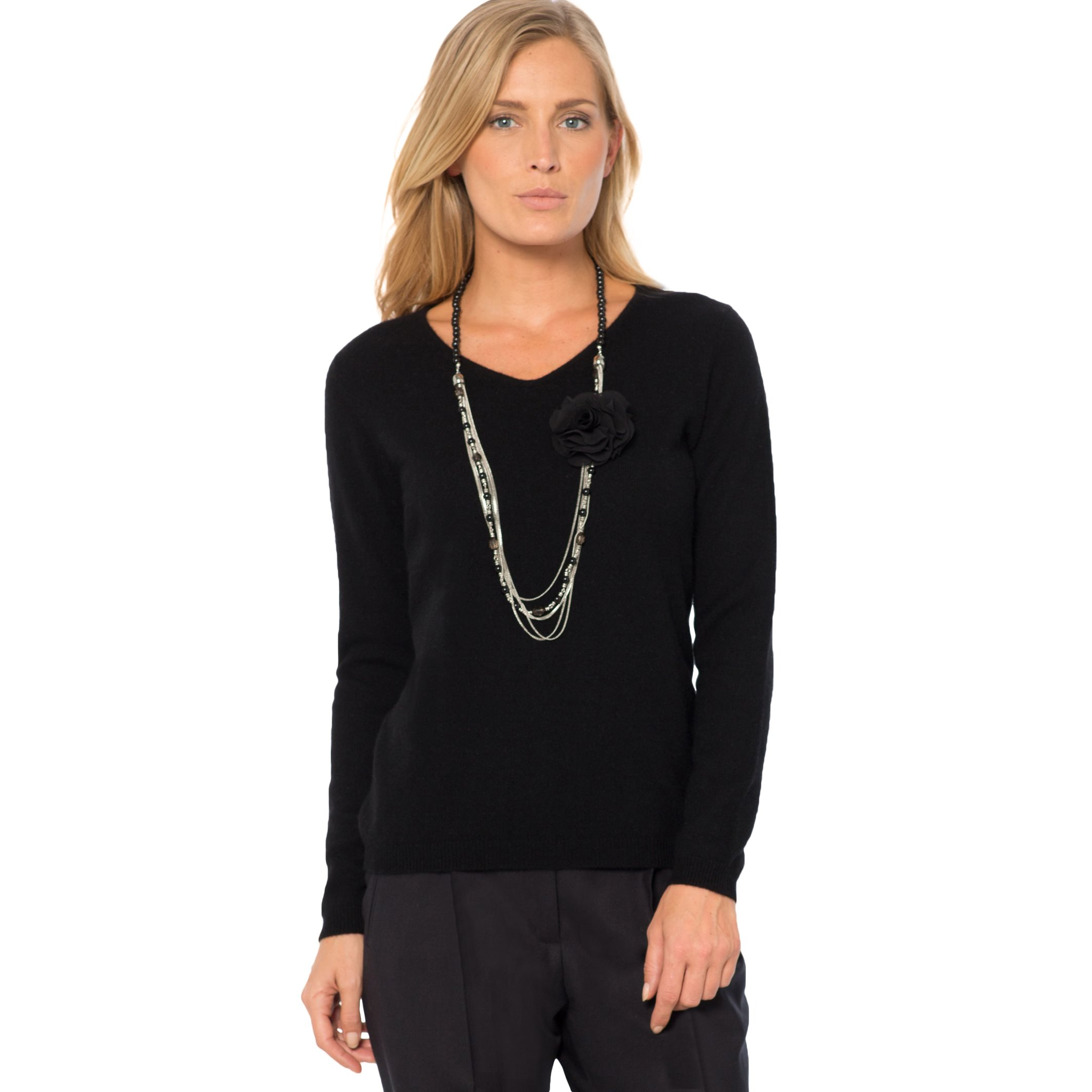 La Redoute Womens Fine Knit Cashmere V-Neck Jumper/Sweater Black Size Us 16/18 - Fr 46/48