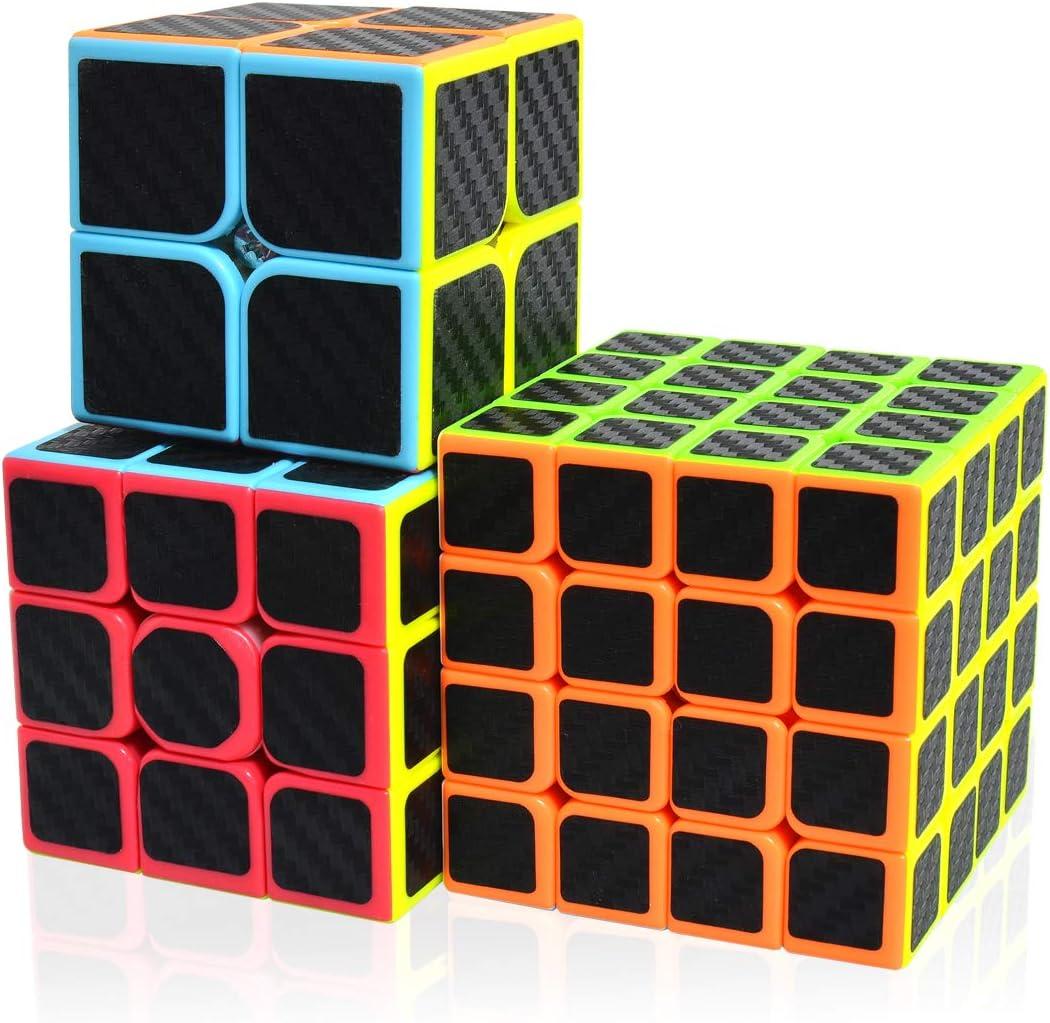 Maomaoyu Cubo Magico Pack, Speed Cube 3x3+2x2+4x4, Cubo de la Velocidad Fibra De Carbono Caja de Regalo de 3 Piezas Set Negro