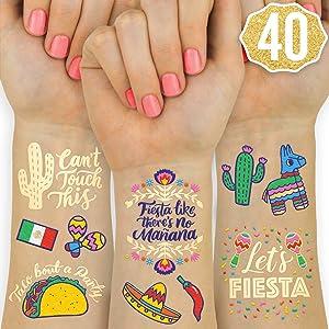 xo, Fetti Fiesta Party Supplies Metallic Tattoos - 40 styles | Cinco De Mayo Decorations, Final Fiesta Bachelorette + Mexican Decor