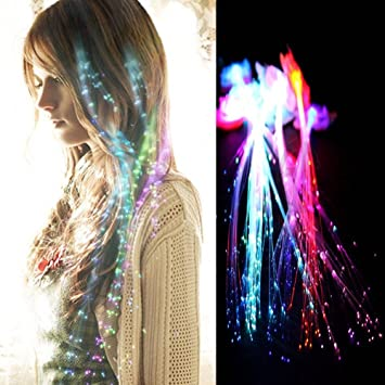 Amazon rainbow colors led lights hair light up fiber optic rainbow colors led lights hair light up fiber optic led hair barrettes party favors pmusecretfo Images
