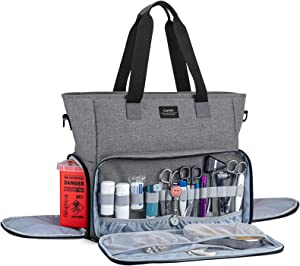 CURMIO Nurse Bag and Tote for Work, Nursing Clinical Bag with Padded Laptop Sleeve for Home Visits, Health Care, Hospice, Bag ONLY, Gray