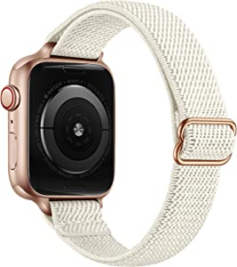 SICCIDEN Slim Stretchy Solo Loop Bands Compatible with Apple Watch Band 40mm 38mm 44mm 42mm, Women Elastics Nylon Thin Band Strap for iWatch SE Series 6 5 4 3 2 1 (Ivory White/Rose Gold, 40mm 38mm)