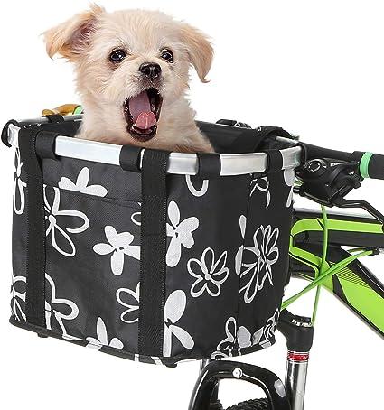 Bicycle Basket Folding Bike Front Handlebar Pet Carrier Frame Bag Shopping Bag