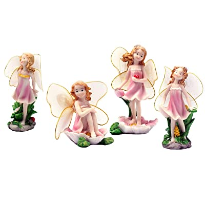 4 Pcs Cute Girls Miniature Figurines Fairy Garden Ornament Resin Craft Decor
