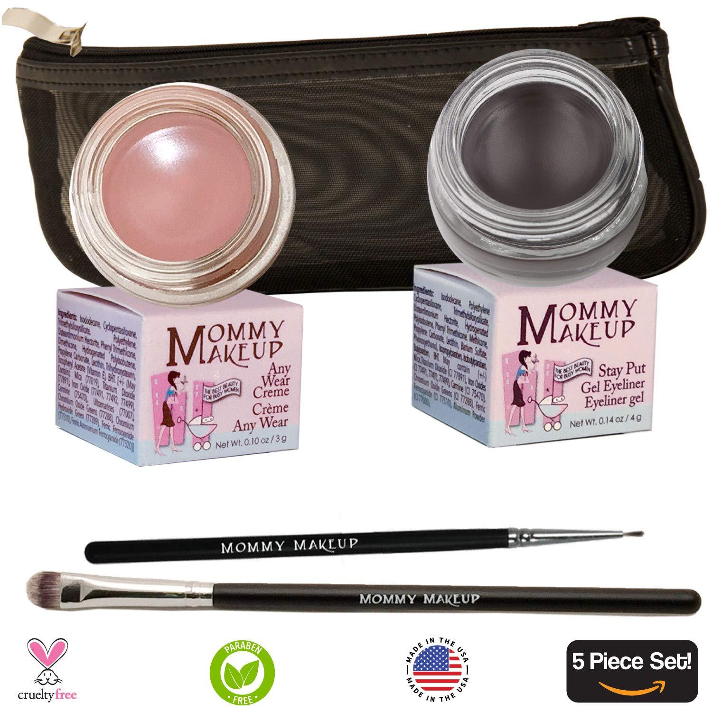 The Everlasting Eye 5 Piece Waterproof Makeup Set. Gel Eyeliner, Creme Eyeshadow, 2 brushes and Mesh Bag. Paraben-free, Talc-free, PETA Certified cruelty-free.