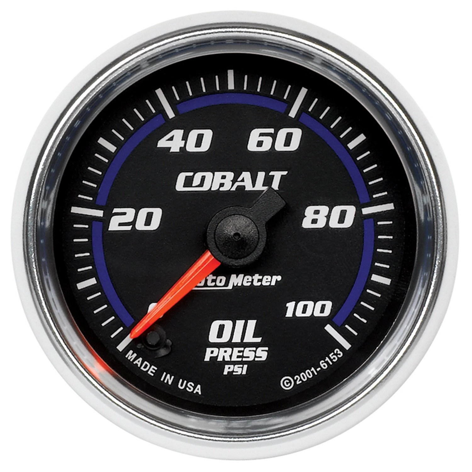 Auto Meter 6153 Cobalt 2-1/16'' 0-100 PSI Full Sweep Electric Oil Pressure Gauge by AUTO METER