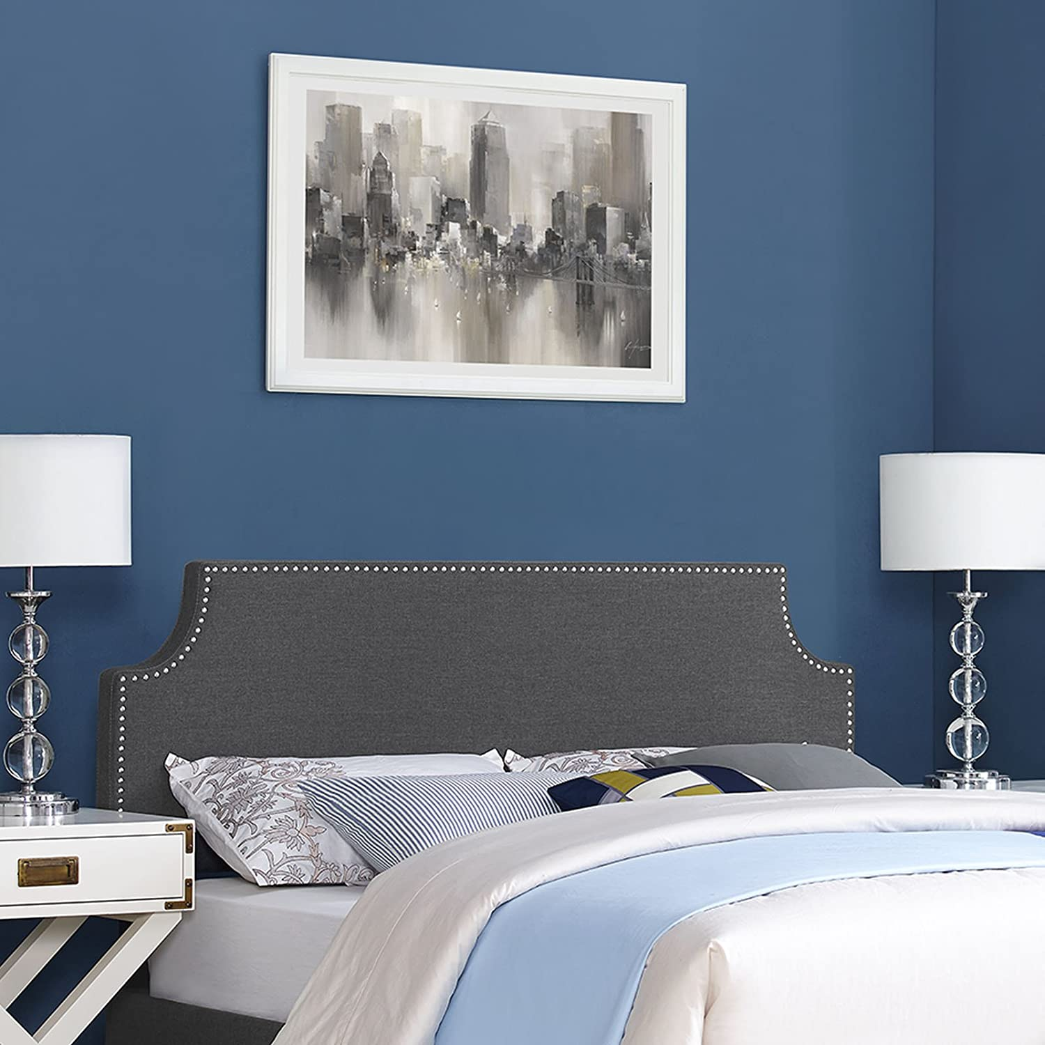 Modway Laura Linen Fabric Upholstered King Size Headboard with Cut-Out Edges and Nailhead Trim in Gray