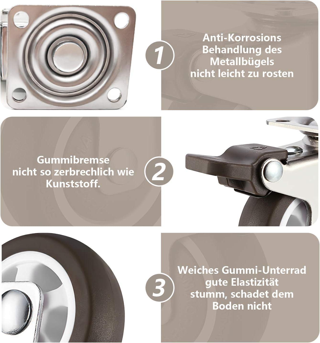 25mm FTSPORTS Transportrollen M/öbelrollen 25mm 4 st/ück rollen mit bremse f/ür m/öbel trolley shopping cart