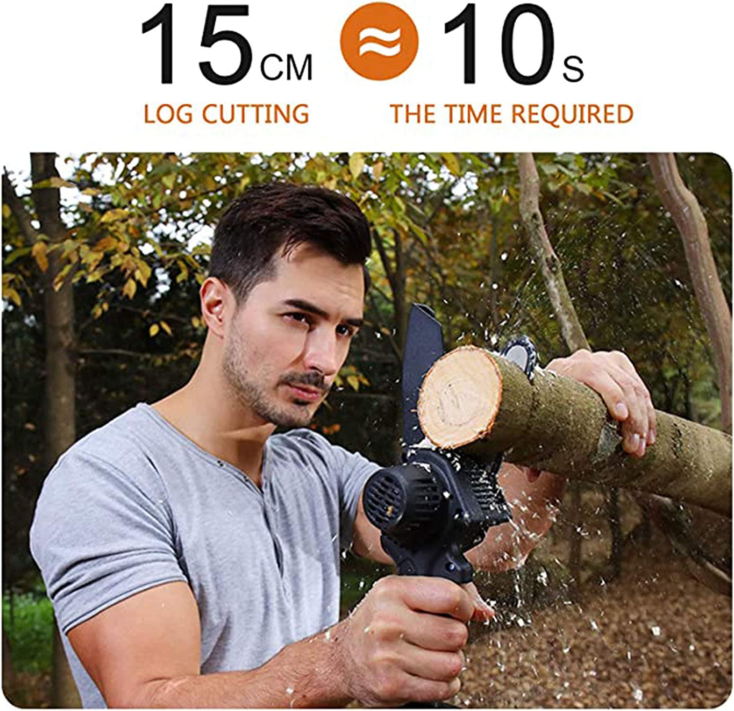 Rechargeable Mini Chainsaw Cordless 6 Inch Pruning Shears Chainsaw With 2pcs Batteries one Handed Battery Powered for Garden Tree Branch Logging Wood Cutting
