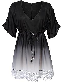 Summer Mae Womens Plus Size V-Neck Gradient Lace Beach Dress