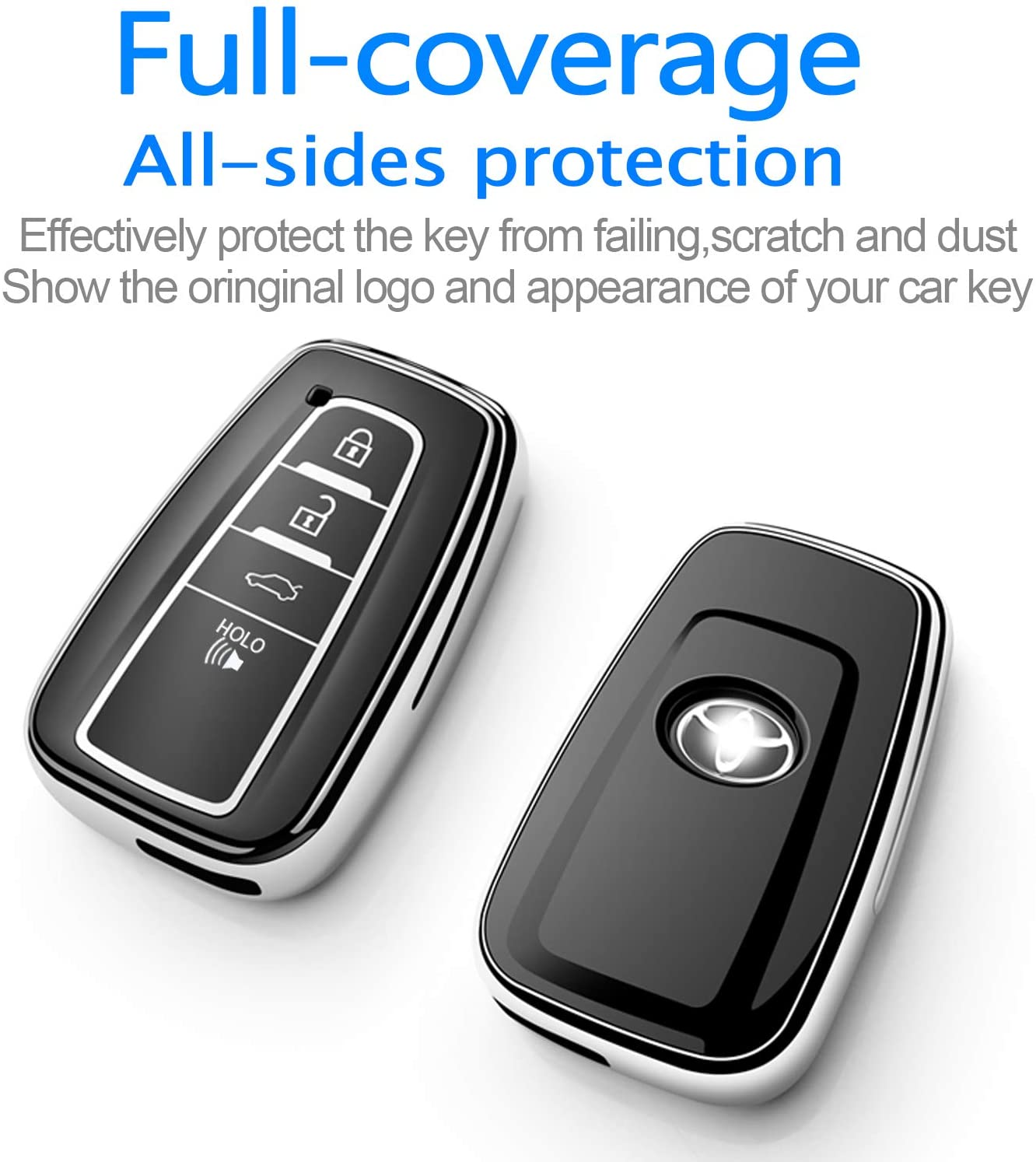 Tukellen for Toyota Key Fob Cover with Keychain Special Soft TPU Key Case Protector Compatible with 2018-2020 Toyota RAV4 Camry Avalon C-HR Prius Corolla only for Keyless go -Blue