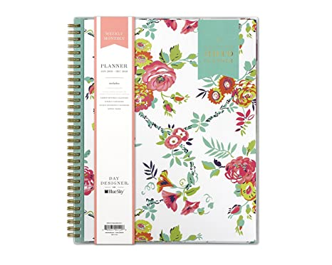 image about Day Designer for Blue Sky titled Working day Designer for Blue Sky 2019 Weekly Regular monthly Planner, Versatile Deal with, Dual-Cord Binding, 8.5\