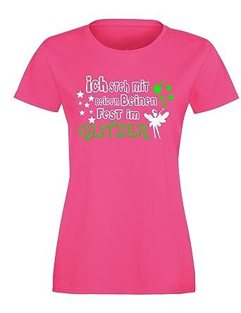 Ich steh mit beiden Beinen fest im Glitzer - Damen Rundhals T-Shirt