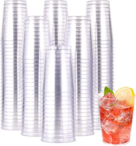 10 OZ Clear Disposable Plastic Cups 200 Pack, Clear Plastic Cups Tumblers, Heavy-duty Party Glasses, Disposable Cups for Wedding,Thanksgiving, Christmas Party