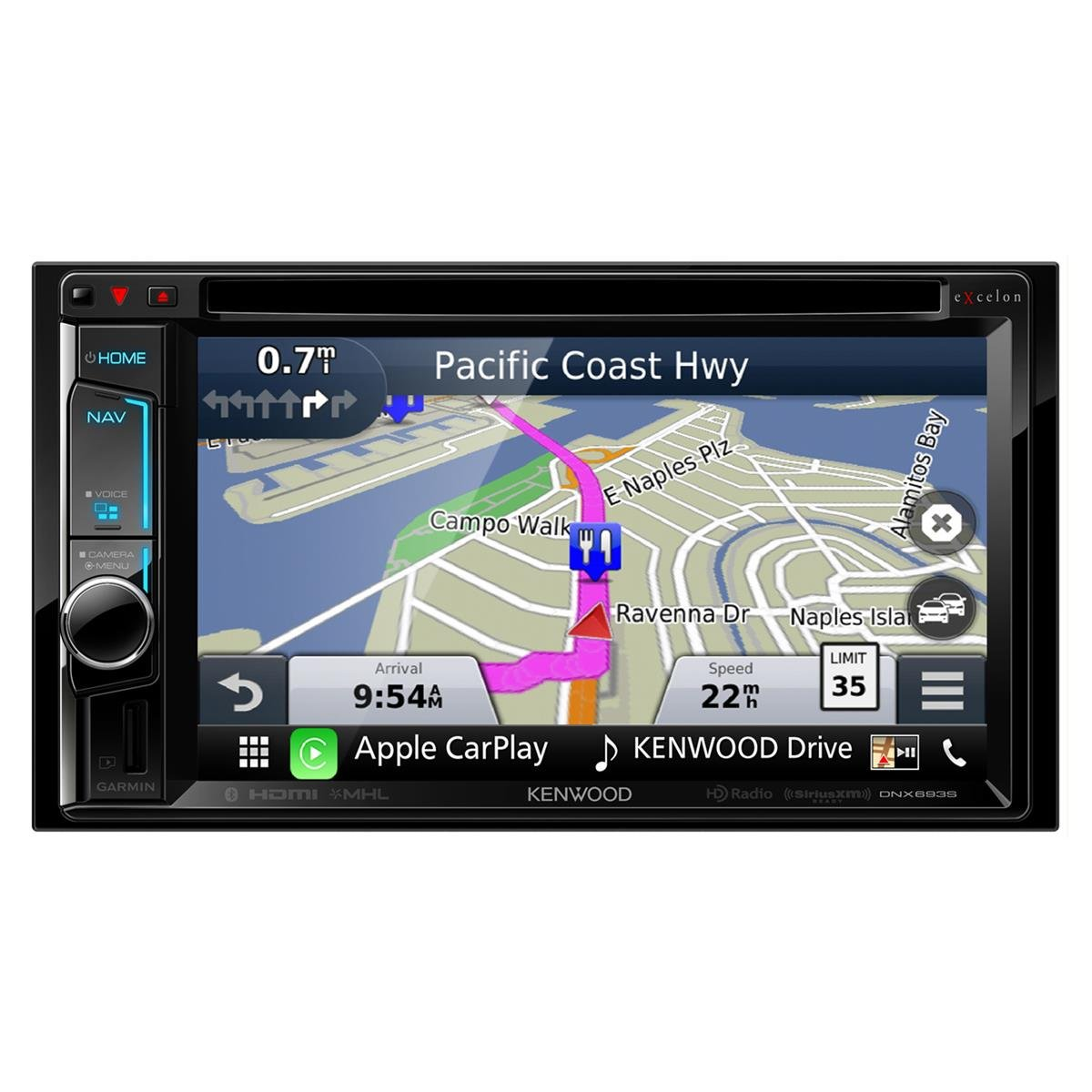 Kenwood DNX693S 6.2'' eXcelon Double-DIN AV Navigation System With Bluetooth