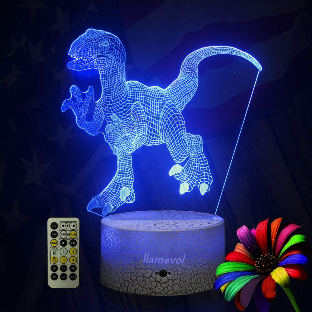 LLAMEVOL Dinosaur Night Lights for Kids Birthday Indoraptor Toy 3D Illusion Lamp Dino Gifts for Boys Home Bedroom Party Supply Decoration 7 Color Blue Raptor Remote Timer by LLAMEVOL (Image #4)
