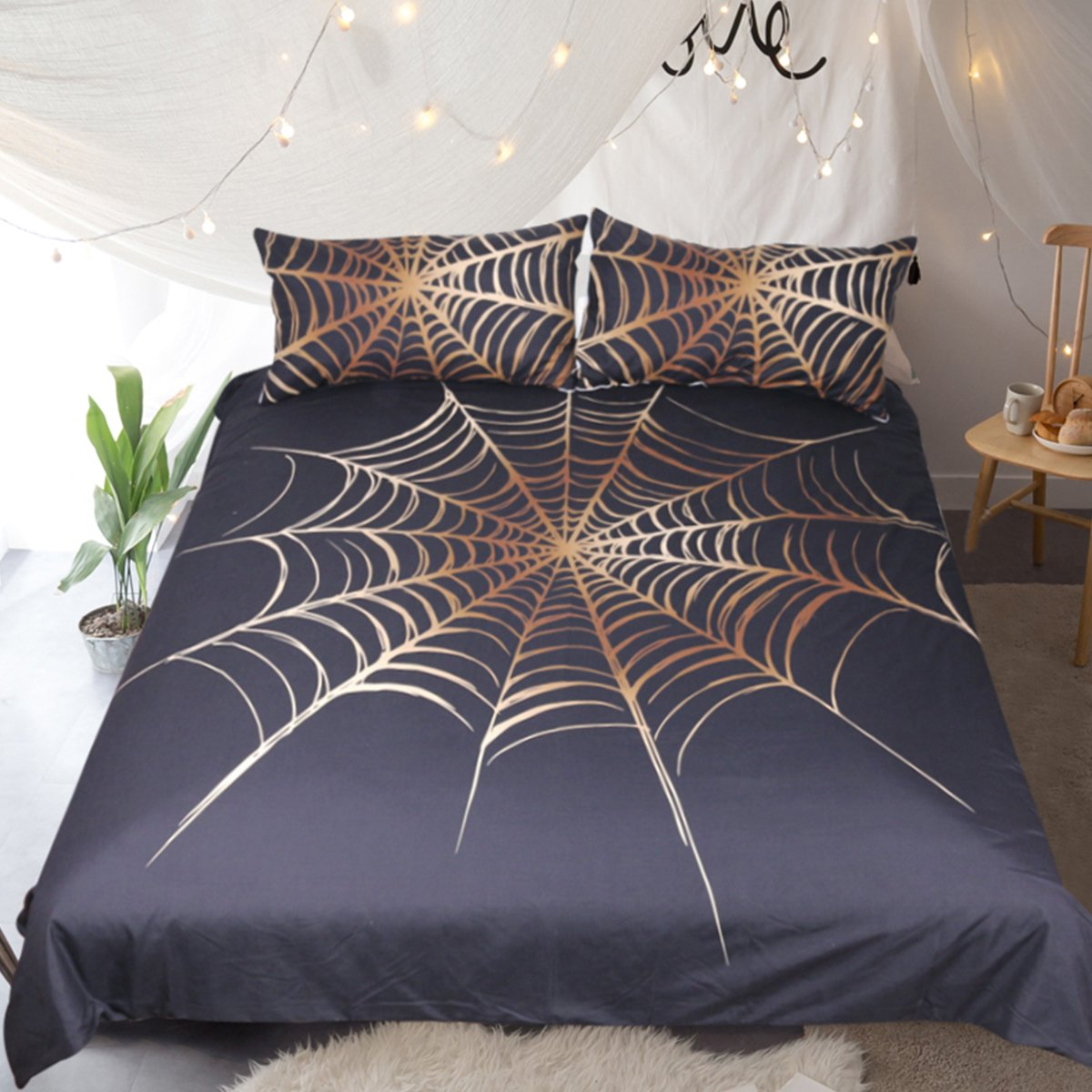 Sleepwish Black and Gold Spider Web Bedding Spooky Duvet Cover Ghost Bedding Quilt Duvet Cover Set Spiderweb Themed Gifts (Spider Web, King)