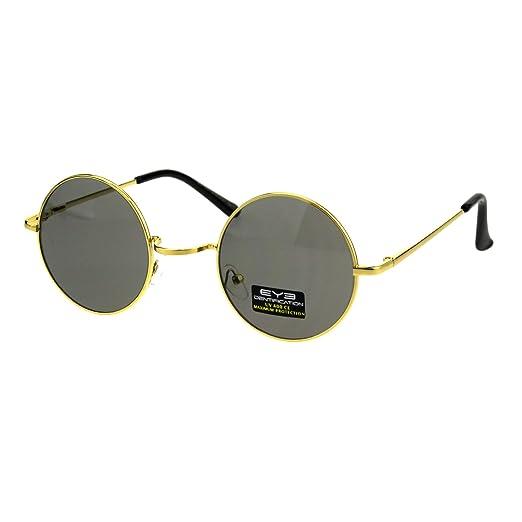 e6594cebb4f6 Amazon.com  Hippie Pimp Daddy Color Lens Circle Lens Gold Round Metal Rim  Sunglasses Black  Clothing