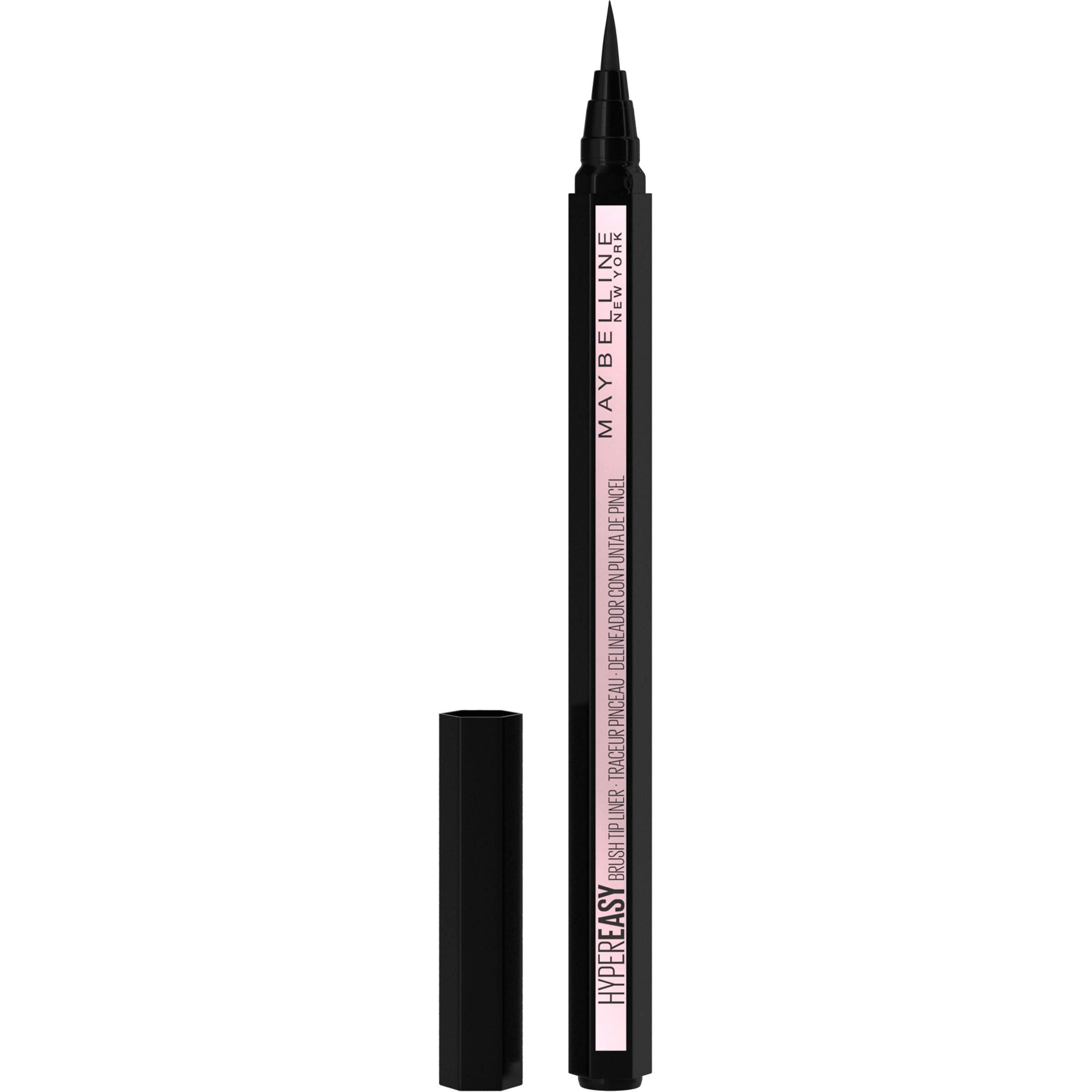 MAYBELLINE Hyper Easy Liquid Pen No-Skip Eyeliner, Satin Finish, Waterproof Formula, Eye Liner Makeup, Pitch Black, 0.018 Fl; Oz