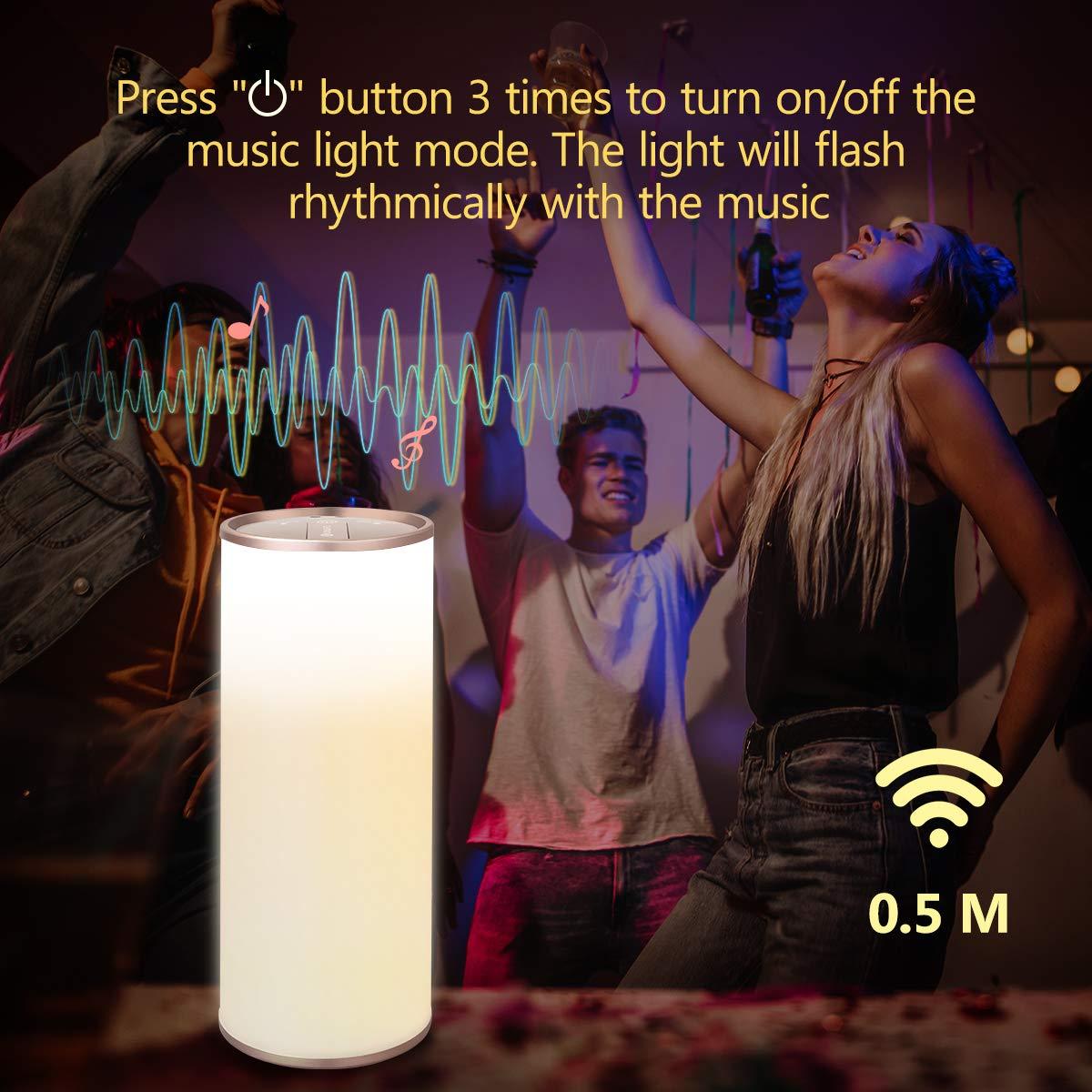 Nachttischlampe mit Gestensensor Ein-Griff Tragbar Perfekt Weihnachtsgeschenk Stufenlos Dimmbar Touch Bedienung Kabellos Batteriebetrieben YUNLIGHTS Tischlampe LED Nachtlampe Stimmungslicht