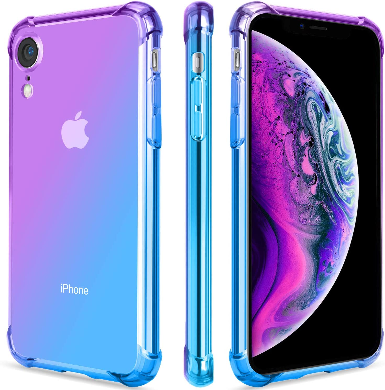 SALAWAT for iPhone Xr Case, Clear iPhone Xr Case Cute Gradient Slim Anti Scratch TPU Phone Case Cover Reinforced Corners Shockproof Protective Case for iPhone Xr 6.1inch (Purple Blue)