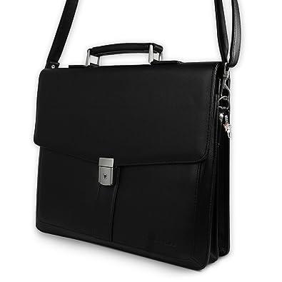 df9078e836b18 Aktentasche schwarz Kunstleder-Aktentasche Bürotasche Aktenkoffer mit  Fee-Anhänger Bag Street OTJ108S  Amazon.de  Schuhe   Handtaschen