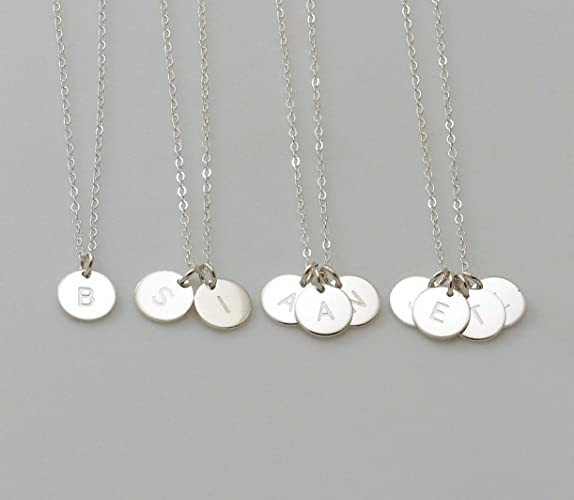 Amazoncom 925 Sterling Silver Monogram Disc Charm Necklace 14K