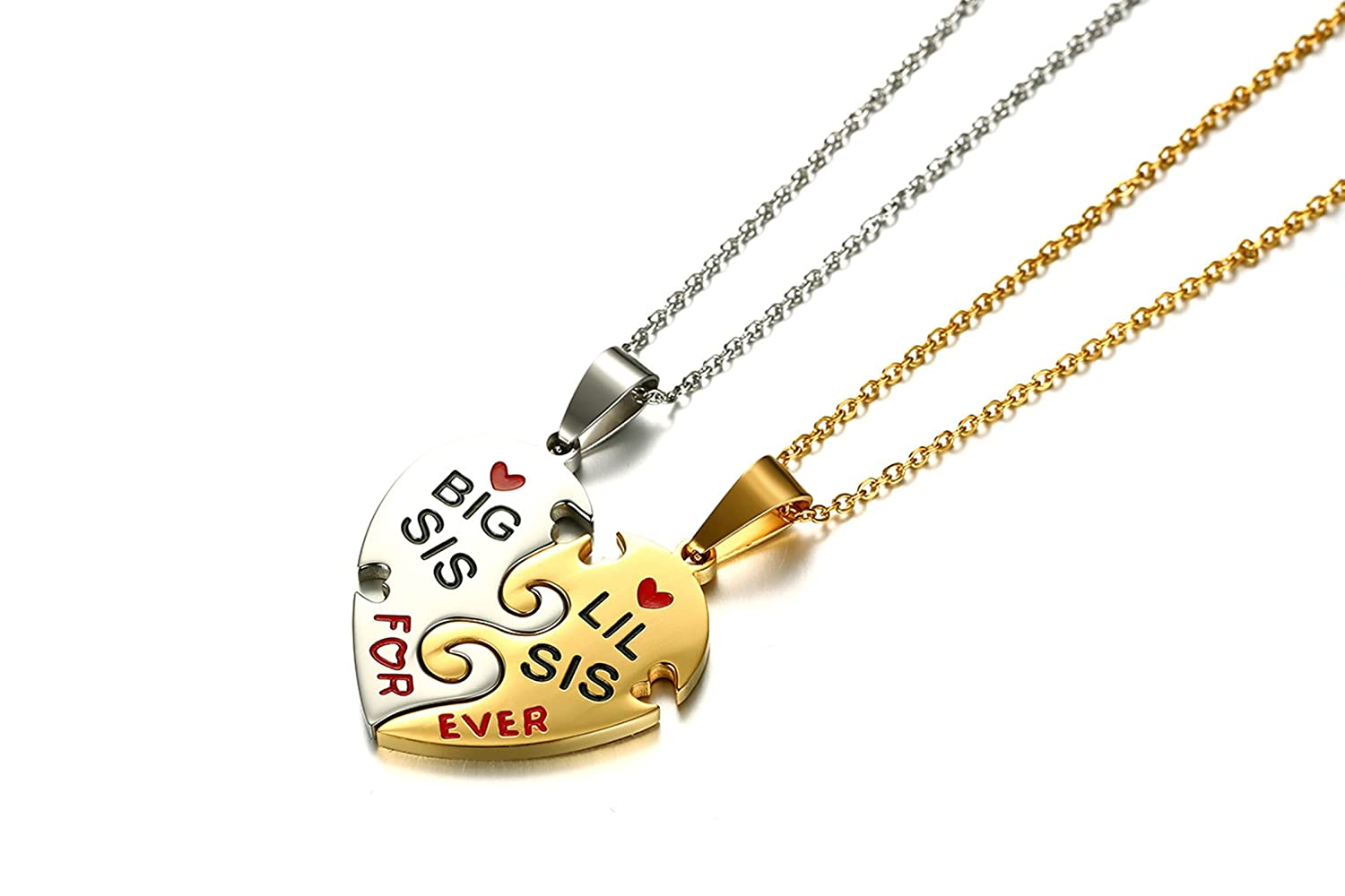 Big Sis Lil Sis Pendant 18 Chains Included Gnzoe Sisters Heart Pendant Necklace for Sisters Necklaces Set 2pcs