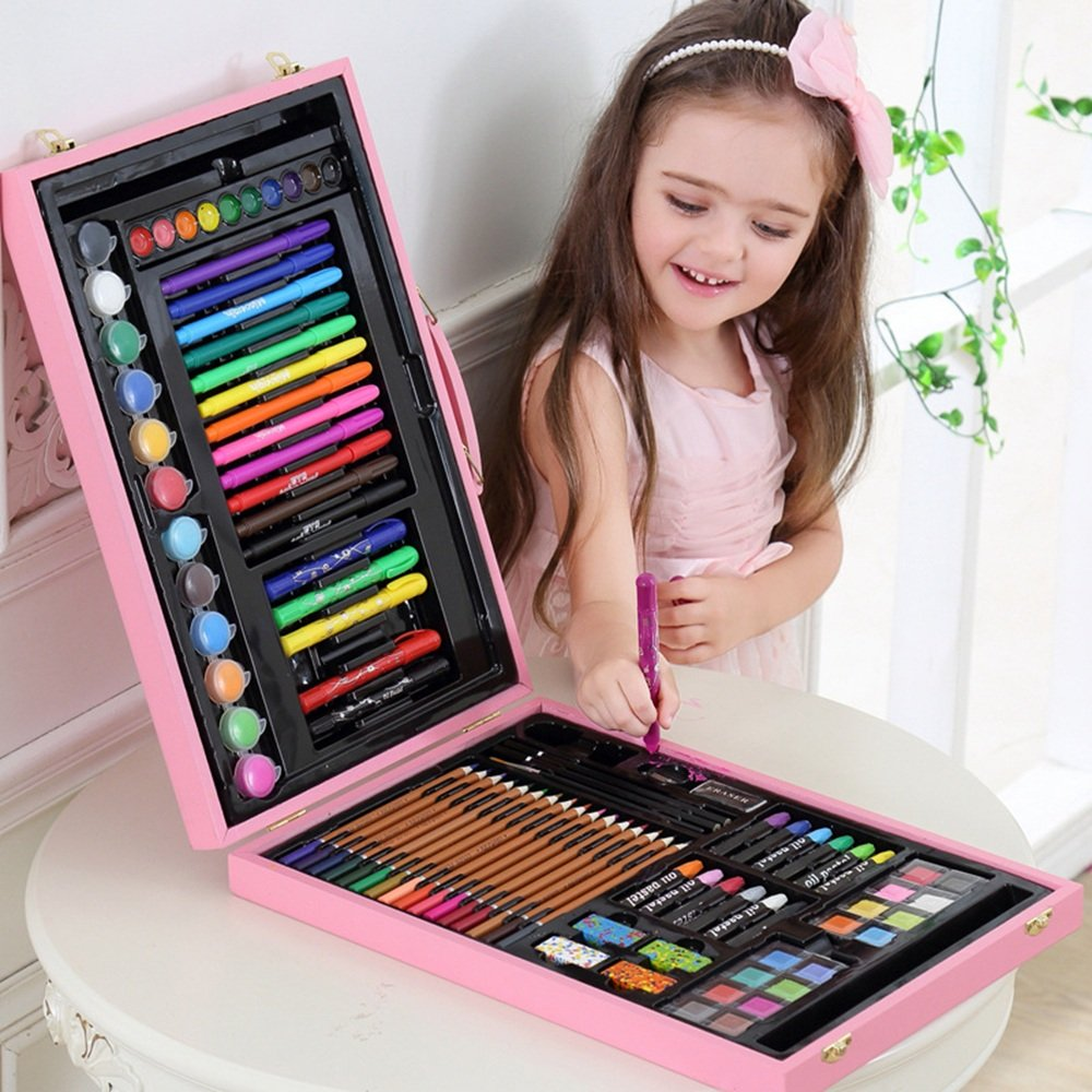 Artist art drawing set, The Color Luxury Wood Art Drawing Set Is For Children In Wooden Boxes, 106 Paintings, Stereo Easel, Portable Hand, Boy/girl, Green/pink. Gifts for children and children. by JIANGXIUQIN (Image #2)