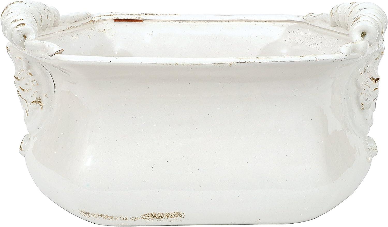 Creative Co-op White Terracotta Cache Pot