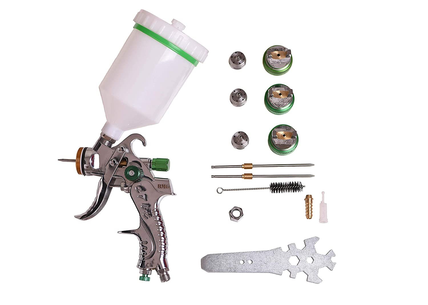BMG HVLP Gravity Feed Spray Gun Tool Kit with 600cc Cup 1.4mm 1.7mm and 2.0 Nozzles