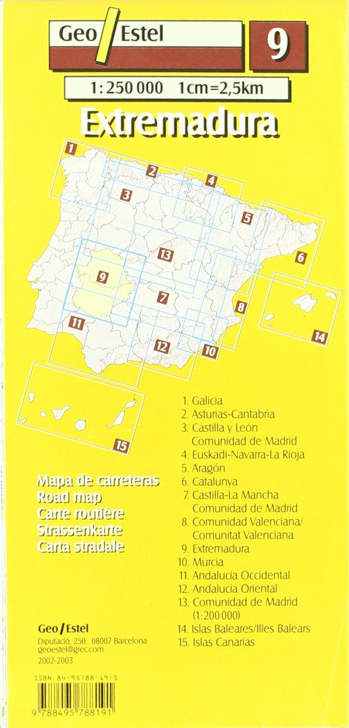 Extremadura: Extremadura Road Map 1:250, 000 Mapas de carreteras ...