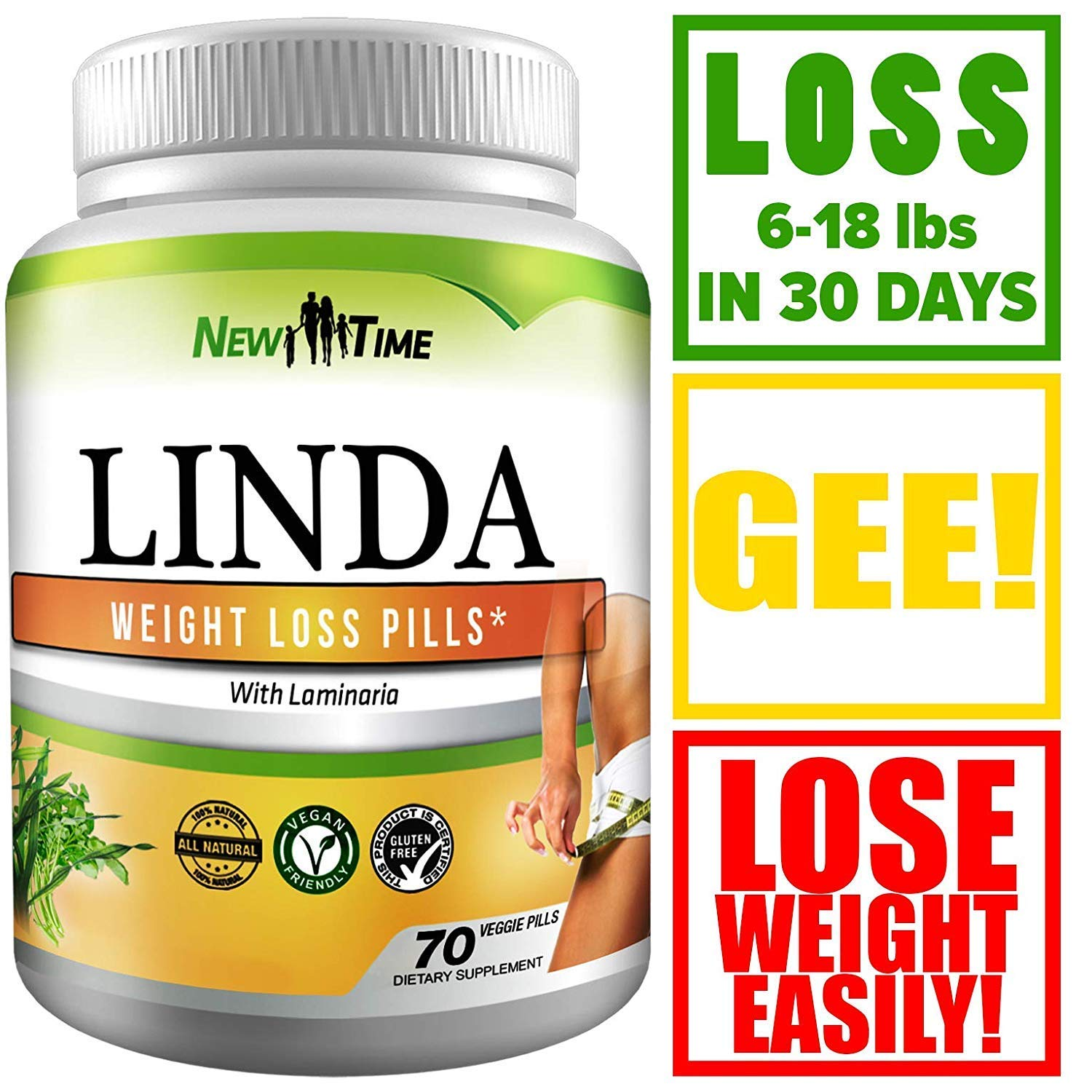 Linda - Best Weight Loss Pills - Linda for Women & Men - Herbal Diet Supplements - Natural Appetite Suppressant That Works Fast - Best Diet Pills +10 pcs by New Time