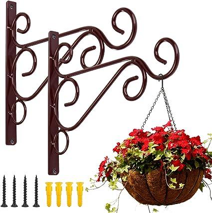 2Pcs Garden Flower Pot Hanger Wall Hanging Rack Iron Holder Plant Bracket Hook
