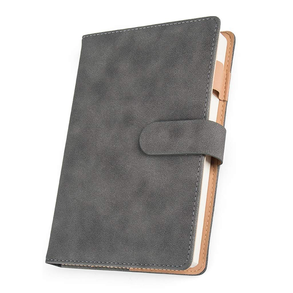 FS Solid Color Leather Buckle Cover Journal Notebook Travel Notebook Student Office Writing Notepad 21.5CM×15CM 200 Pages A5 (Color : Gray)